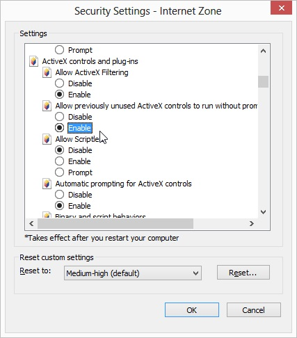 Activex filtering settings